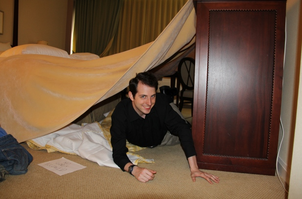 Happy customer in his fort at Fairmont Winnipeg!