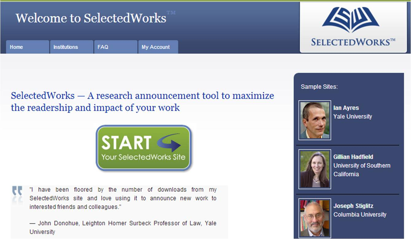 Google optimized database for published research - SelectedWorks