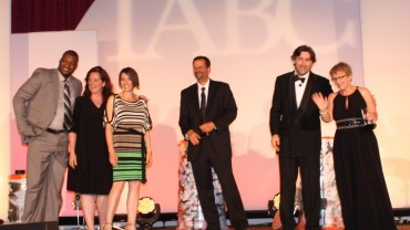 l-r Kevin Wilson, Karyn Toon, Karen Benner, Allstate Canada; Kerby Meyers, Tim Buckley, IABC; Jo Langham, ABC, Thornley Fallis.